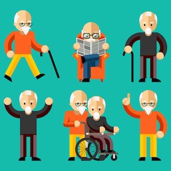 Starsi ludzie. aktywność osób starszych, opieka nad osobami starszymi, komfort i komunikacja na starość. szczęśliwy człowiek czyta gazetę w fotelu. ilustracji wektorowych