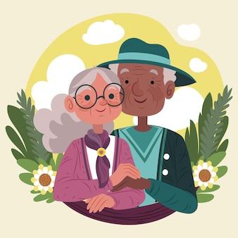 Starsi ludzie cieszą się pięknym dniem