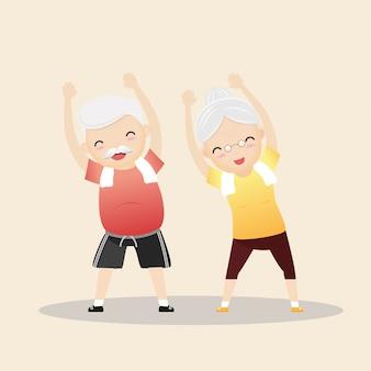 Starsi ludzie ćwiczy ilustrację
