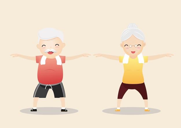 Starsi ludzie ćwiczy pojęcie.