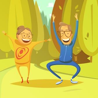 Starsi ludzie i gimnastyki tło z lasem i polem