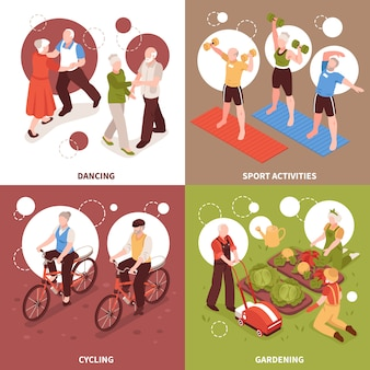 Starsi ludzie pojęcie ikon ustawiających z aktywnymi stylem życia i hobby symbolami isometric odizolowywającymi