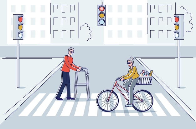 Starsi ludzie przechodzący przez ulicę stary człowiek chodzą z kijem i starszą panią na rowerze