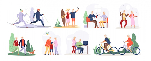 Starsi ludzie. starszy babcia dziadek para sport babcia turystycznych starszych osób chodzących działa na rowerze taniec zestaw