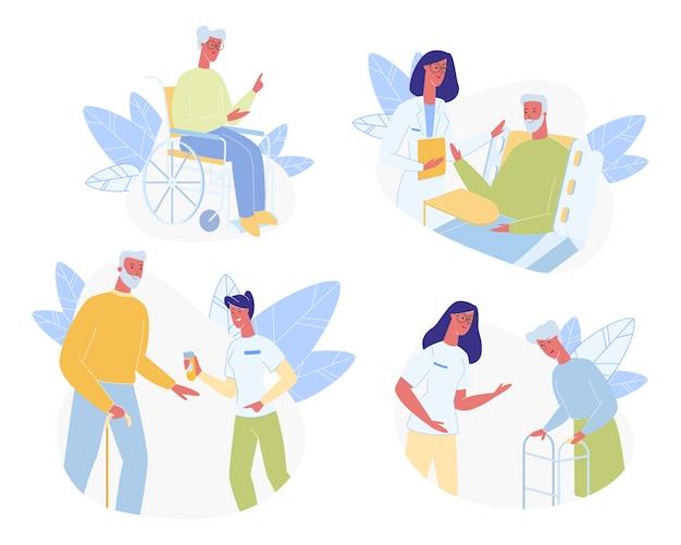 Starsi ludzie w domu opieki zestaw. pomoc medyczna