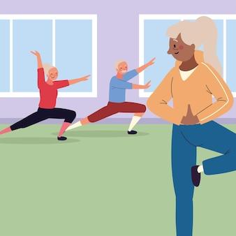 Starsi ludzie w klasie fitness