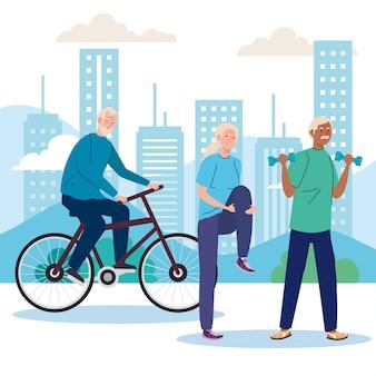 Starsi ludzie wykonujący różne czynności i hobby na świeżym powietrzu.