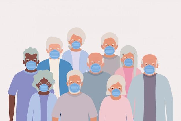 Starsi mężczyźni i kobiety z maskami