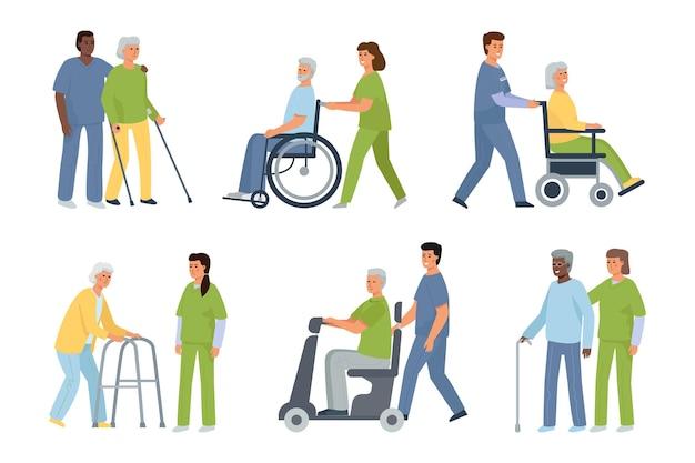 Starsi niepełnosprawni pacjenci oraz pielęgniarka i opiekun