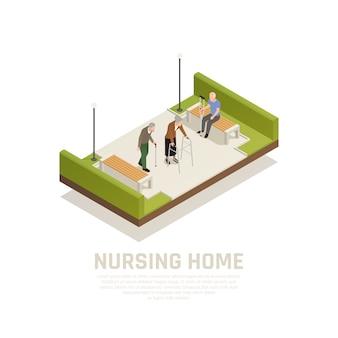 Starsi niepełnosprawni pielęgnujący dom zajęcia na świeżym powietrzu skład izometryczny z wykorzystaniem osób chodzących o kulach trzcinowych