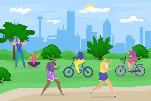 Starsi starsi ludzie w parku, aktywny tryb życia dla starszych emerytów, jogging, jazda na rowerze i robienie ćwiczeń ilustracja kreskówka. starsi dziadkowie mężczyźni i kobiety w parku miejskim.