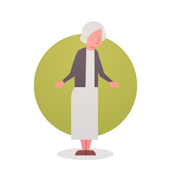 Starsza kobieta babcia siwe włosy kobiece ikona pełna długość pani