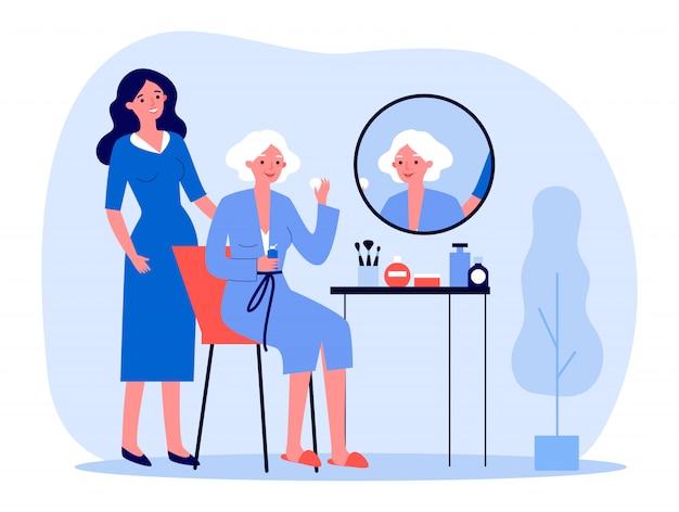 Starsza kobieta dba o skórę twarzy
