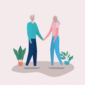 Starsza kobieta i mężczyzna bajki z motywem roślin, babci i dziadka