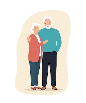 Starsza kobieta i mężczyzna na białym tle