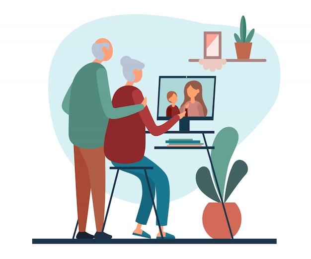 Starsza kreskówki para komunikuje się z młodszymi krewnymi przez komputer
