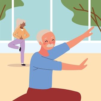 Starsza para ćwiczy ćwiczenia