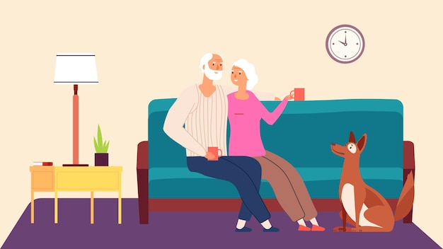 Starsza para. koncepcja wektor hygge wieczór rodzinny. stary pies kobieta mężczyzna w salonie. ilustracja dziadek i babcia ze zwierzakiem