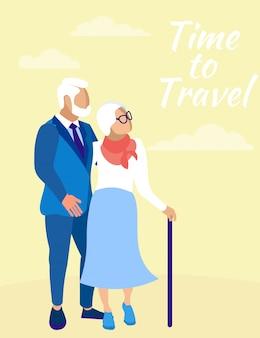 Starsza para na żółto. podróż w czasie.