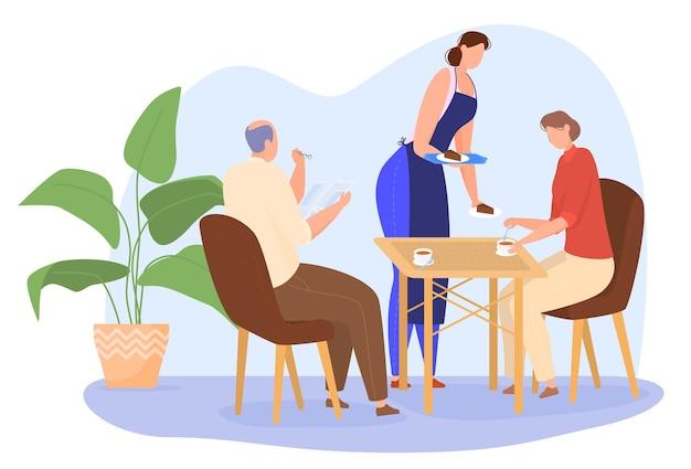 Starsza para pije kawę lub herbatę w kawiarni, mężczyzna czyta gazetę. kelner obsługuje klientów. kolorowa ilustracja w stylu cartoon płaski.