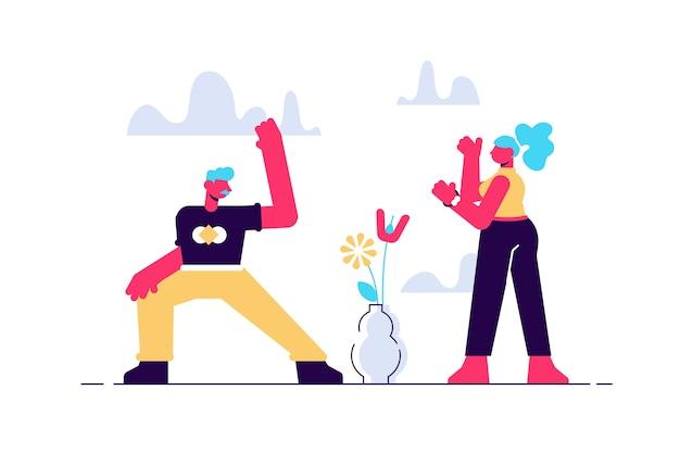 Starsza para praktykujących jogę w domu płaska ilustracja