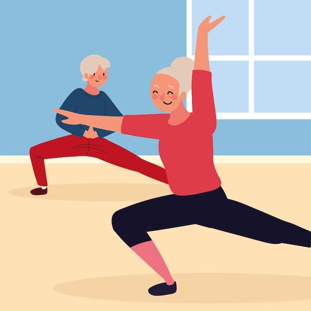 Starsza para robi ćwiczenia