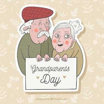 Starsza para świętuje dziadków dzień