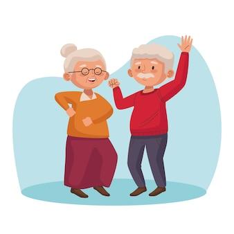 Starsza para tańczy postaci aktywnych seniorów