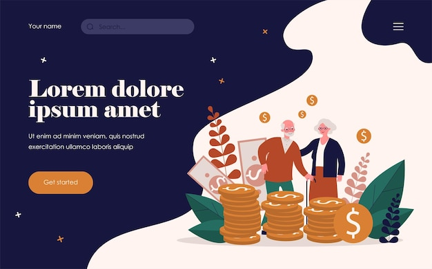 Starsza para z ich oszczędnościami. stary mężczyzna i kobieta stojąca na stercie ilustracji wektorowych płaski gotówki. koncepcja pieniędzy, emerytury, finansów na baner, projekt strony internetowej lub stronę docelową