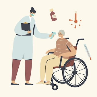 Starsza postać odwiedzająca szpital z objawami grypy lub koronawirusa, lekarz mierzący temperaturę starszą kobietą za pomocą termometru elektronicznego, procedura opieki zdrowotnej
