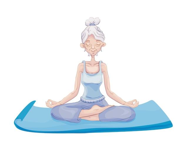 Starsza siwowłosa kobieta ćwiczy jogę, siedząc w pozycji lotosu na macie. medytacja. aktywny tryb życia i zajęcia sportowe na starość. ilustracja na białym tle.