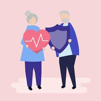 Starsze pary mienia ubezpieczenia zdrowotnego ikony