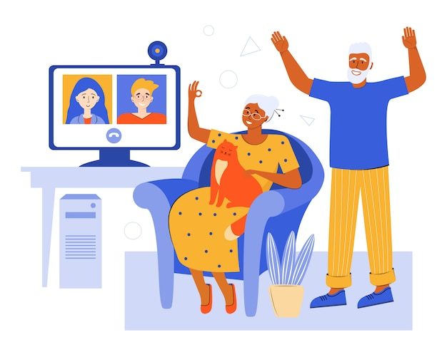 Starsze pary online za pośrednictwem czatu wideo w domu. konferencja wideo z rodziną w kwarantannie za pomocą aplikacji. starzy rodzice rozmawiają ze swoimi dziećmi. starsi ludzie spędzający czas w domu. sieć społeczna.