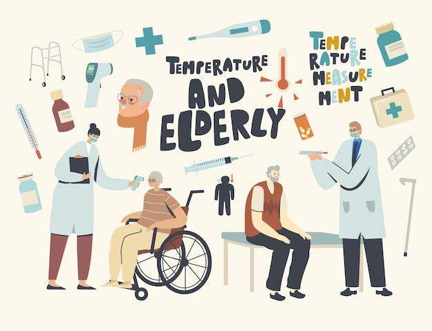 Starsze postacie męskie i żeńskie odwiedzające szpital z objawami grypy lub koronawirusa, lekarze mierzący temperaturę starszym pacjentom. procedura opieki zdrowotnej osób starszych. liniowa ilustracja wektorowa