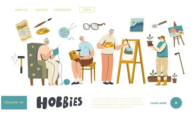 Starsze postacie płci męskiej spędzają czas w domu angażując szablon strony docelowej hobby. robienie ptaszarni, malowanie, robienie na drutach i ogrodnictwo. zabawa starszych mężczyzn i kobiet. ilustracja wektorowa ludzi liniowych