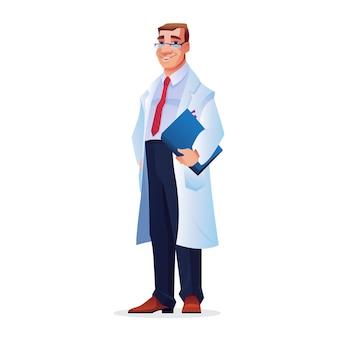 Starszy lekarz w teczce na okulary na historie pacjentów w rękach