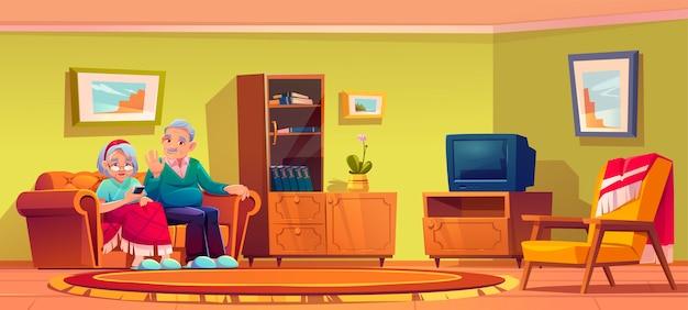 Starszy mężczyzna i kobieta rozmawia przez telefon komórkowy siedzieć na kanapie we wnętrzu pokoju w domu opieki. starsza pani owinięta w kratę i siwowłosy emeryt relaksować się na kanapie używać smartfona, ilustracja kreskówka
