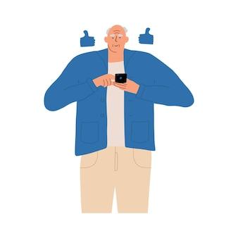 Starszy mężczyzna komunikuje się w sieciach społecznościowych przez telefon. ilustracja wektorowa w stylu płaski