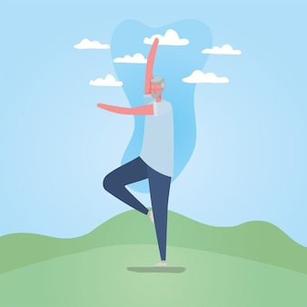 Starszy mężczyzna kreskówka z odzież sportową robi joga w projekt parku, temat aktywności na świeżym powietrzu