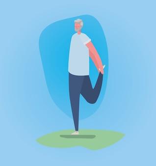Starszy mężczyzna kreskówka z odzież sportową robi projekt jogi, motyw aktywności