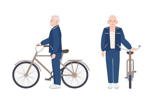 Starszy mężczyzna lub dziadek ubrany w strój sportowy stojący obok roweru. płaski mężczyzna kreskówka trzymając rower. stary uśmiechający się rowerzysta na białym tle. kolorowa ilustracja wektorowa
