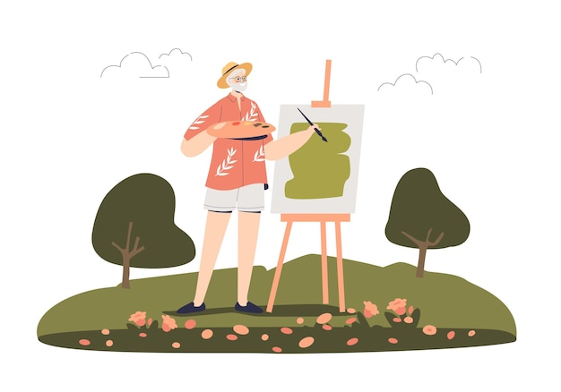 Starszy mężczyzna maluje obraz na zewnątrz w ilustracji plenerowej