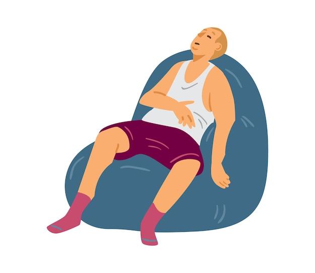 Starszy mężczyzna w bieliźnie drzemiący w fotelu płaski wektor ilustracja na białym tle