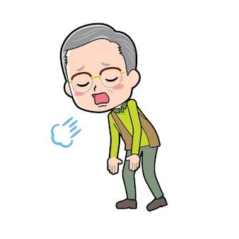 Starszy mężczyzna z gestem utykania. postać z kreskówki.