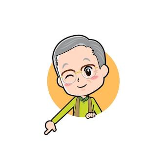 Starszy mężczyzna z gestem w dół. postać z kreskówki.