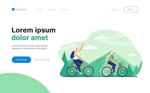 Starszy para jazda na rowerach na zewnątrz. stary mężczyzna i kobieta na rowerze w górach płaska ilustracja