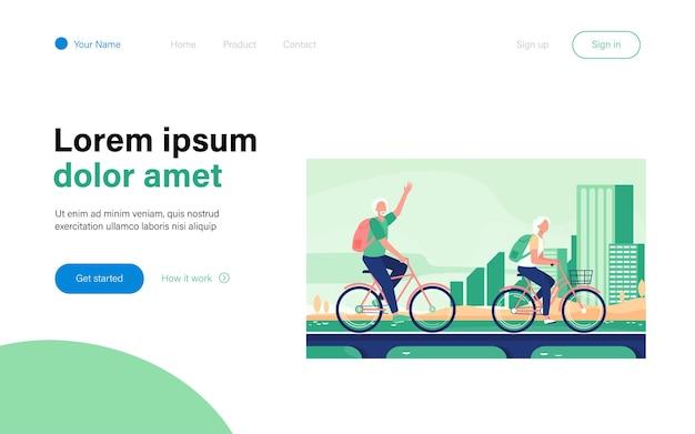 Starszy para jazda na rowerach. stary mężczyzna i kobieta na rowerze na płaskiej ilustracji miasta