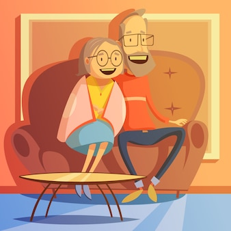 Starszy pary obsiadanie na kanapie