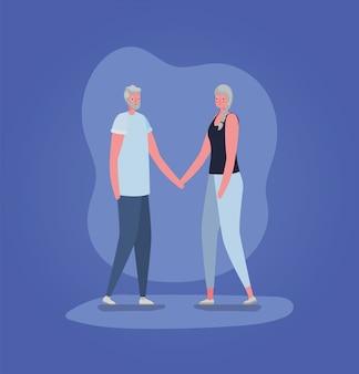 Starszy projekt bajki kobieta i mężczyzna, temat babci i dziadka