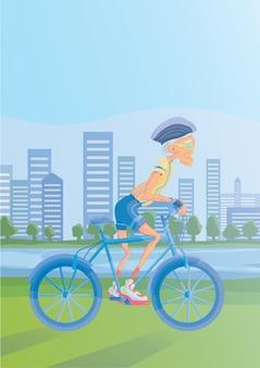 Starszy siwy mężczyzna jedzie na rowerze w parku nad brzegiem rzeki. aktywny tryb życia i zajęcia sportowe na starość. ilustracja.